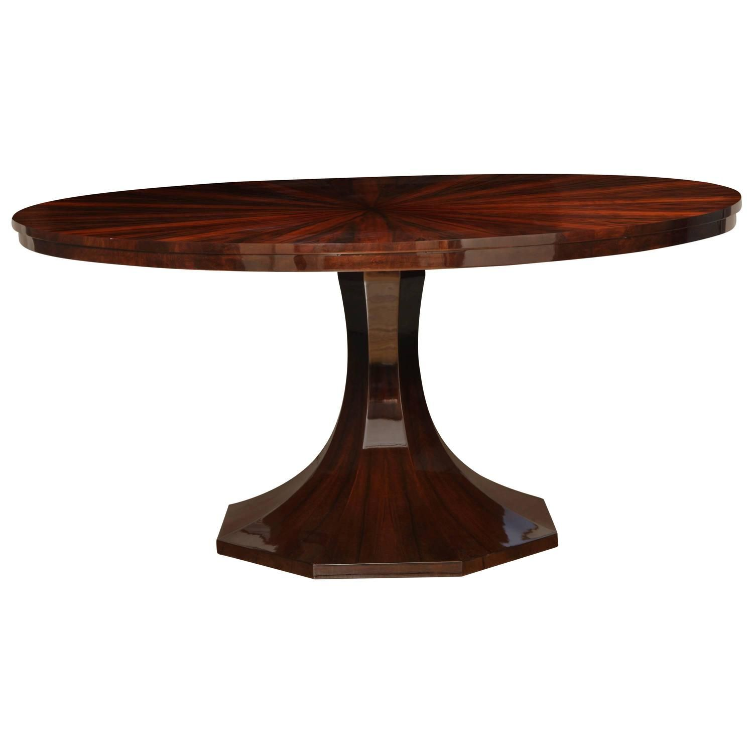 art deco round pedestal dining table in black forest walnut circa