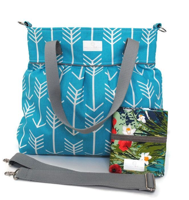 Turquoise Arrow Diaper Bag Gift Set with Floral Travel Pad