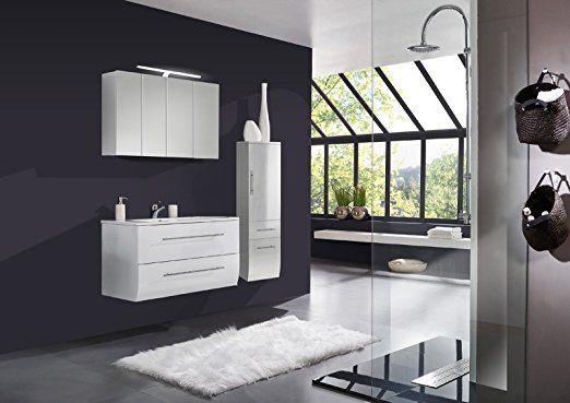 SAM® Badmöbel-Set Niagara 3tlg, 120 cm, hochglanz weiß, mit - spiegelschrank badezimmer 120 cm