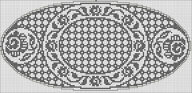 Oval 21 | Free chart for cross-stitch, filet crochet | Chart for pattern - Gráfico