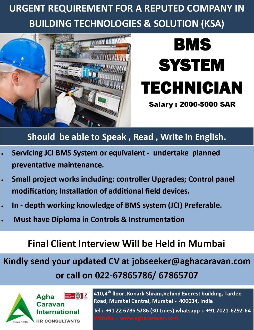 Urgentlyrequired Bms System Technician For One Of The Leading