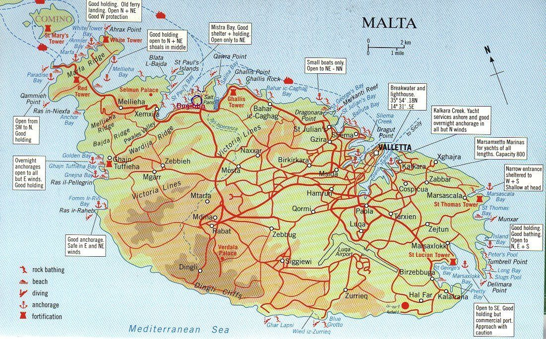 Map over Malta and Comino big map with interesting places marked