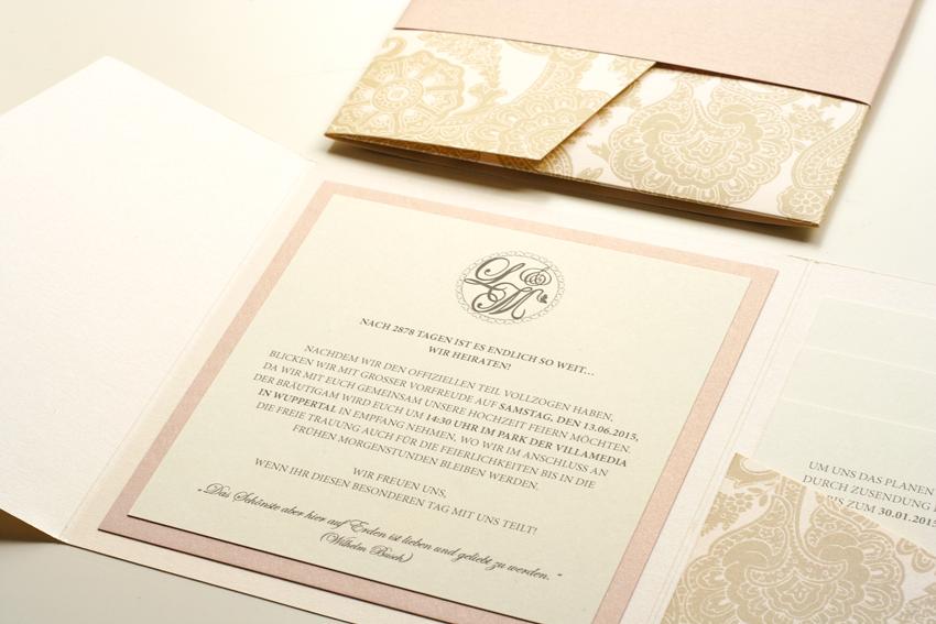 Elegante Hochzeitskarten In Altrosa Creme Und Paisleymuster