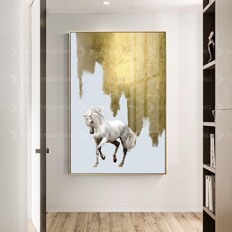 2 Pieces Gold Horse Animal Acrylic Wall Art Print Pictures On Etsy In 2020 Horse Wall Art Acrylic Wall Art Horse Wall