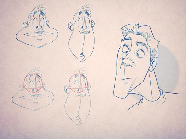 Line Drawing Cartoon Face : How to create movement and action character development 01