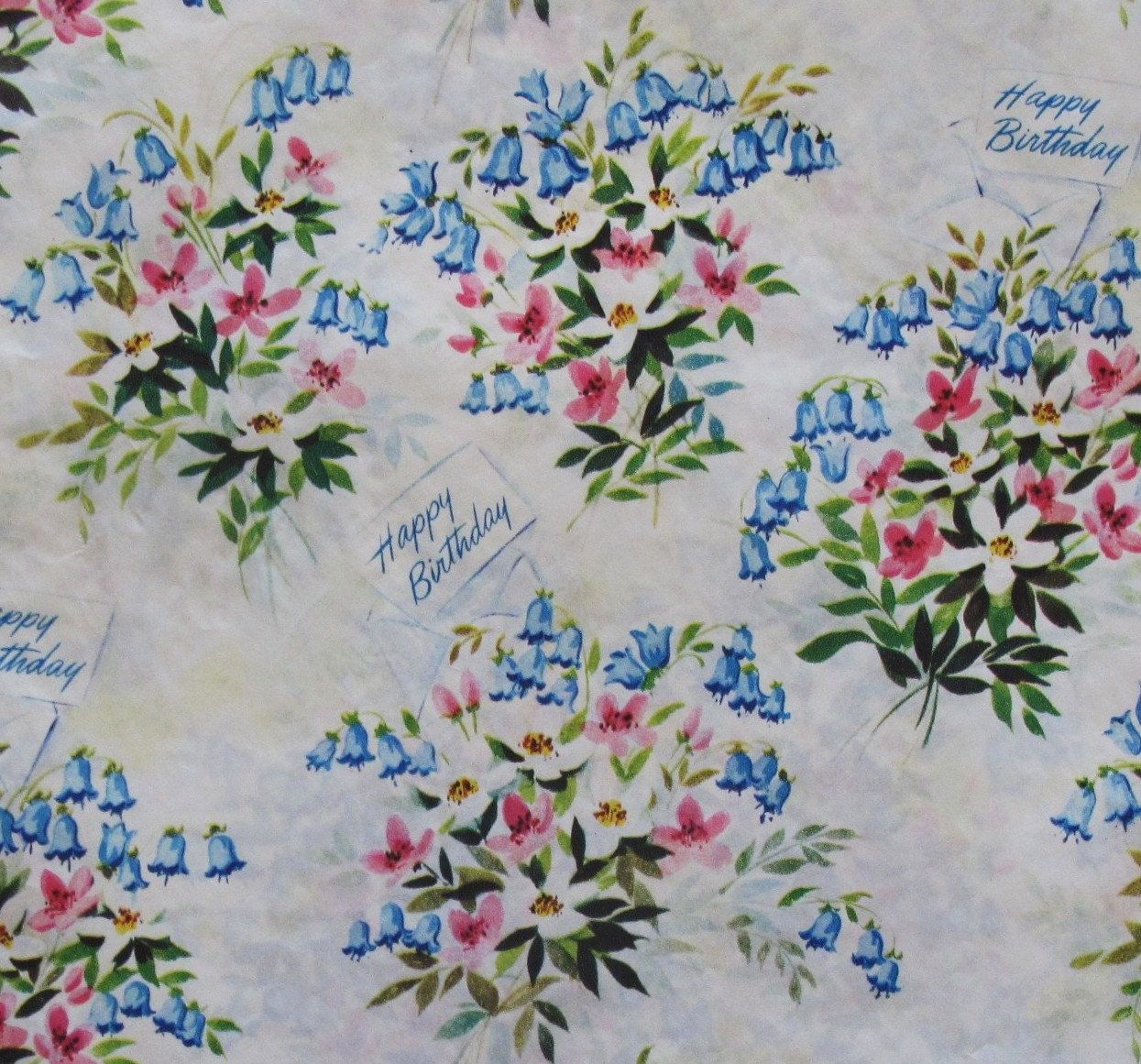 Vintage Ben-Mont HAPPY BIRTHDAY Gift Wrap Wrapping Paper Bluebells 1950s. $4.75, via Etsy.