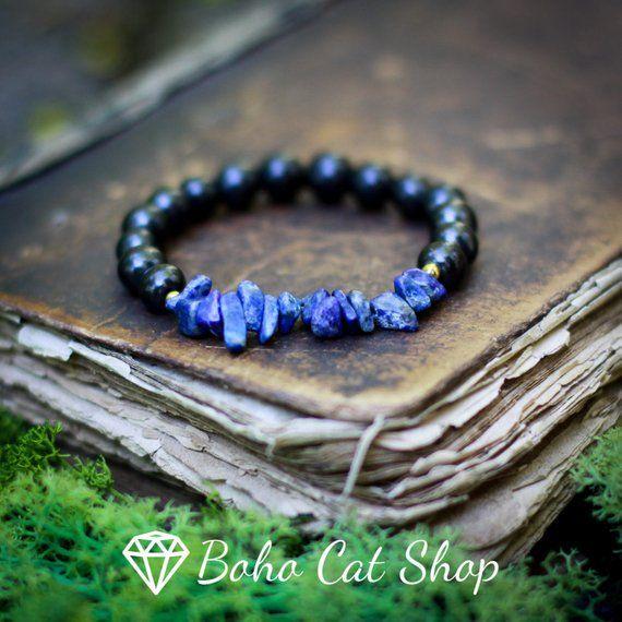 Shungite bracelet with lapis lazuli Handmade | EMF