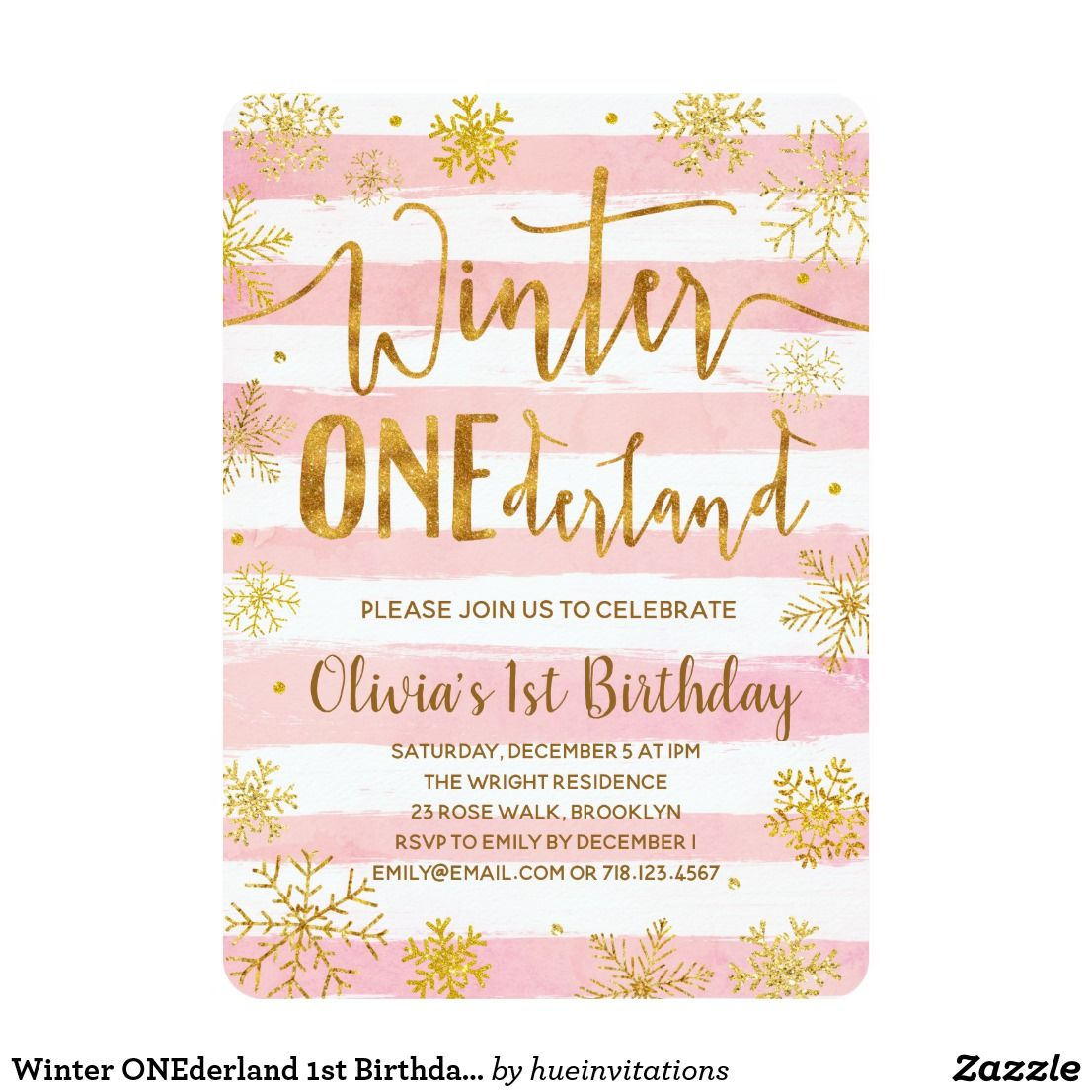 Winter Onederland 1st Birthday Invitation Pink Winter Onederland
