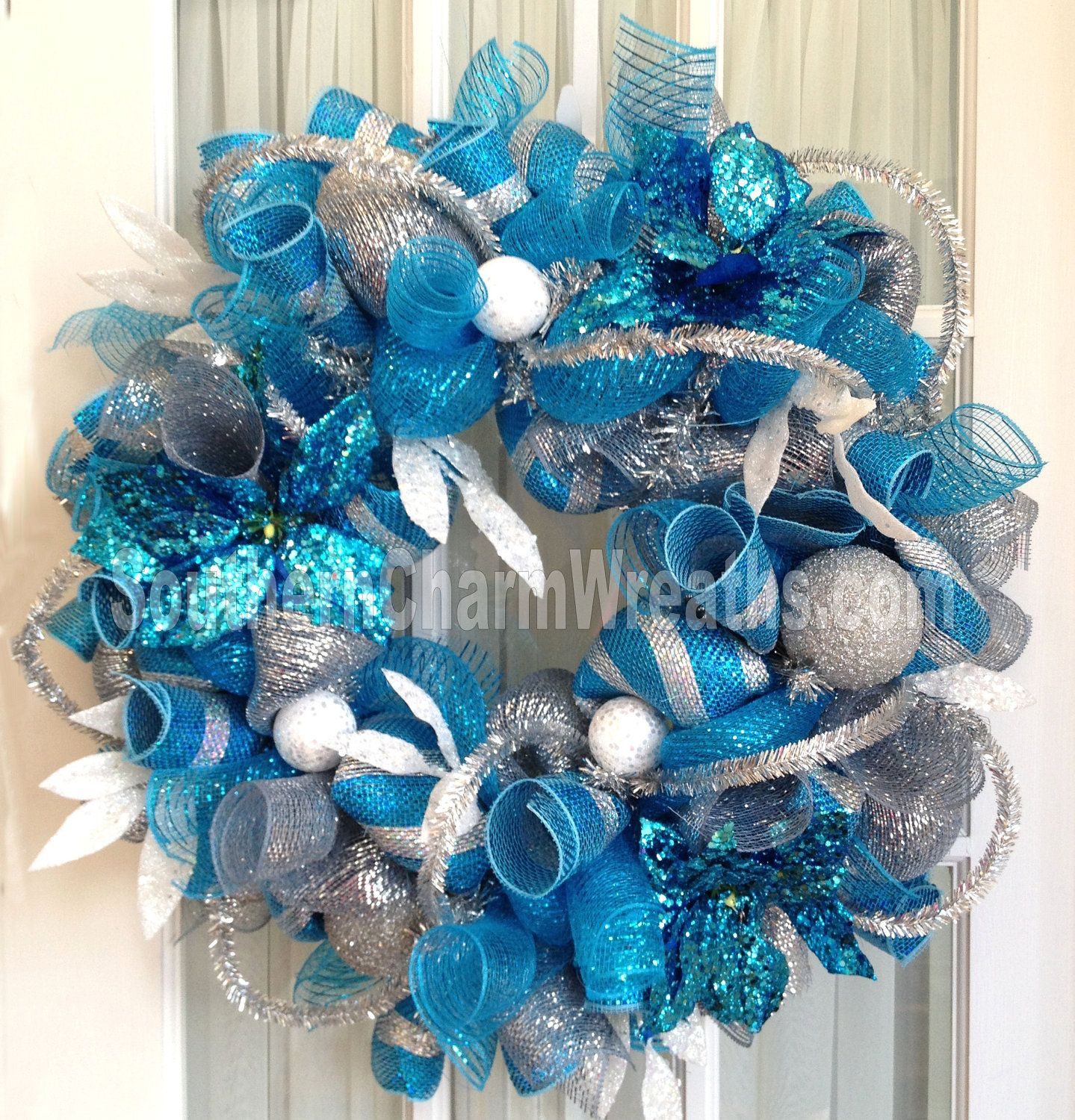 Deco Mesh BLUE CHRISTMAS Wreath For Door or Turquoise Silver White