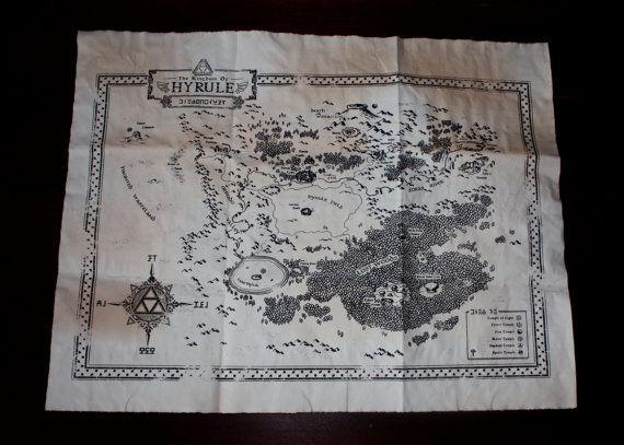 Zelda Kingdom of Hyrule Map Ocarina of Time by SkyPiratePrints