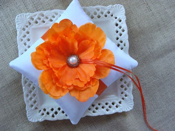 For all you 'Cuse couples out there who want to incorporate some orange into your wedding ceremonies: Wedding Ring Bearer Pillow Orange Peony on White by Etsy user crafting4u, $23.00