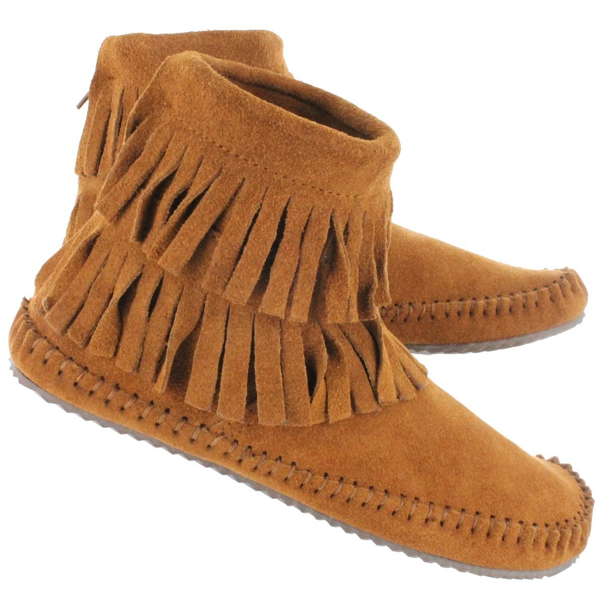 629711c4dd7d Minimalist woman's ankle boot. SoftMoc Women's DEBRA II HI copper suede  back zip mocs. Completely flat, flexible sole if you remove the insert.
