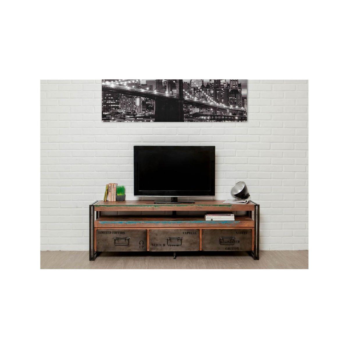 Meuble Tv Grande Taille meuble tv loft 1 Étagère 3 tiroirs teck recyclé - taille