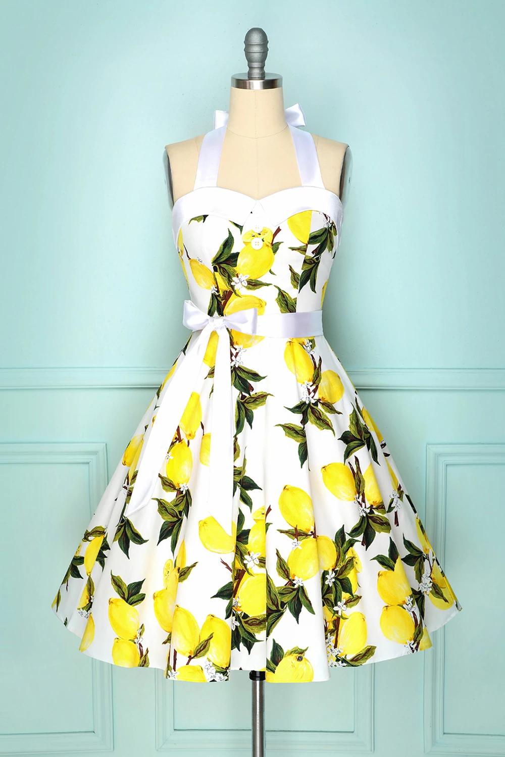 Sweet Summer Lemon Print Wrap Chest Girls Dress Princess Cotton Waist Sundress