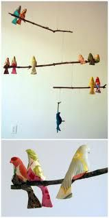 diy baby mobile - birds on a stick - so cute if I was going to have a baby