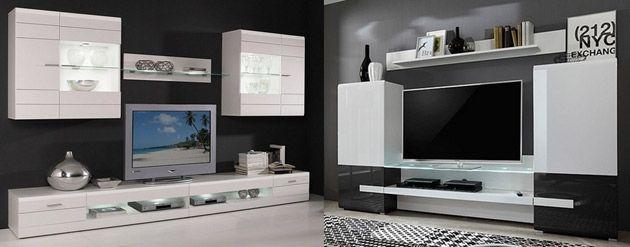Wohnwand weiß hochglanz hängend  Wohnwand weiß hochglanz – modern vom Designer – hängend + TV ...