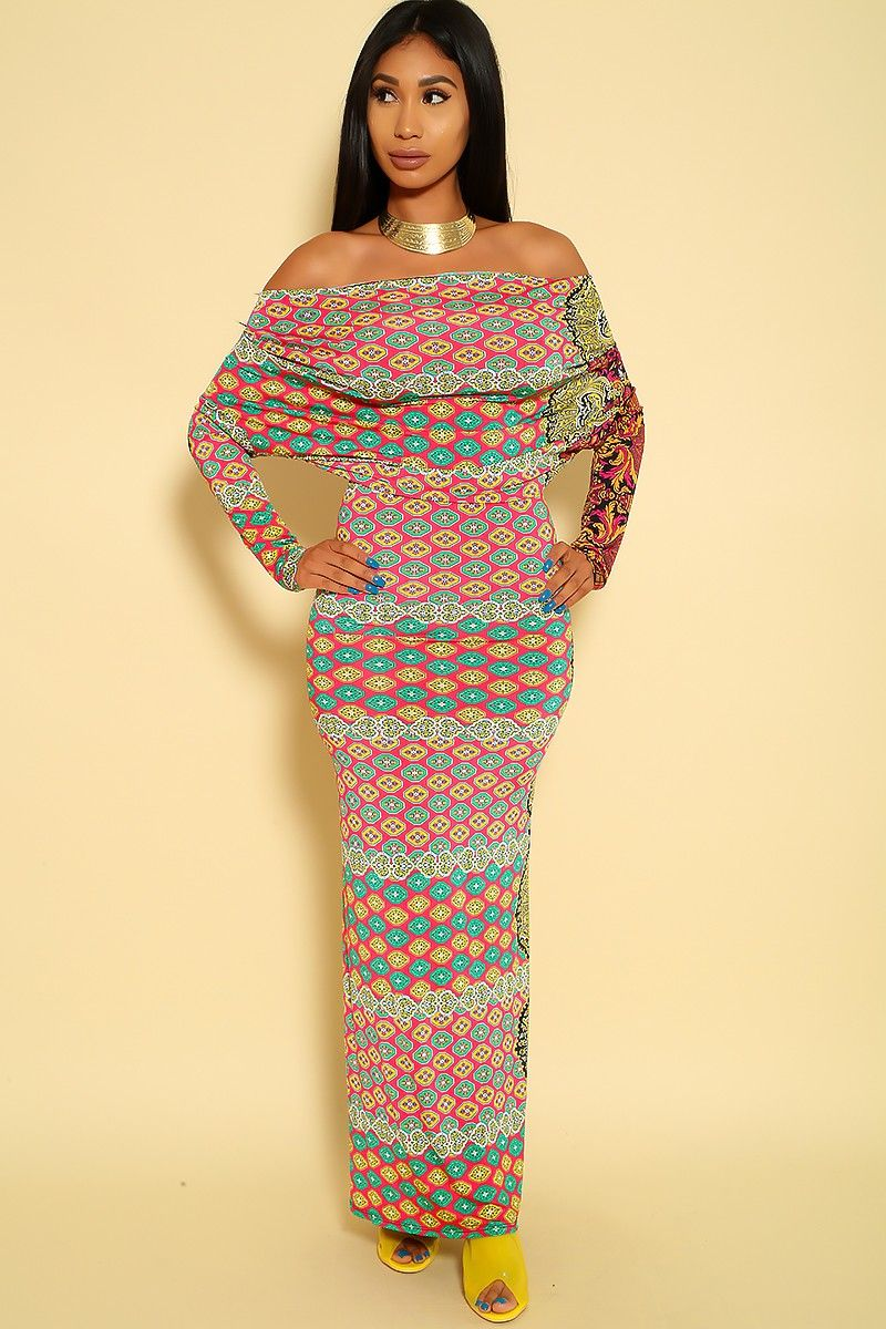 Sexy violent multi long sleeve off the shoulder maxi dress in