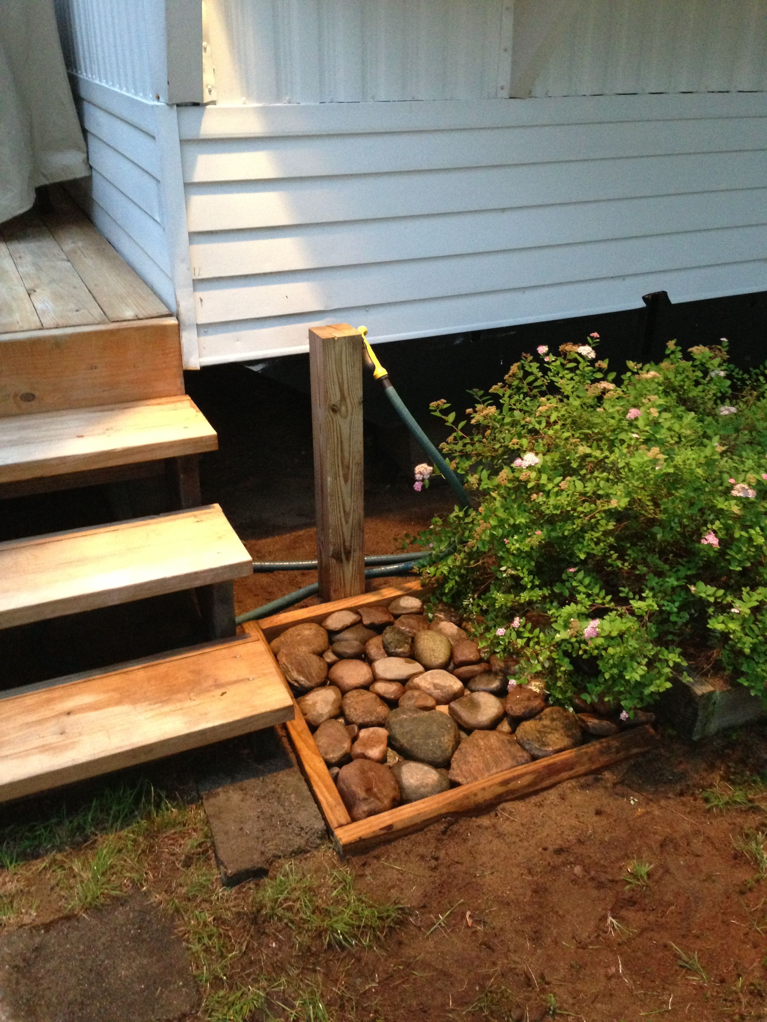 Foot wash using stones from the river ...Shanty Chic rustic wood box ...