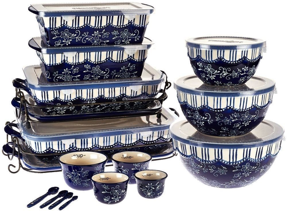 Floral Lace 20 Piece Ceramic Bakeware Set By Temp Tations Blue
