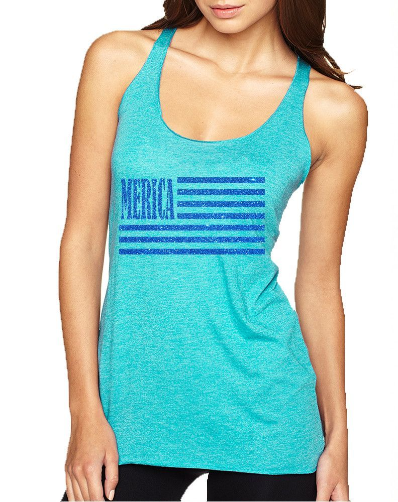 Women's Tank Top Merica Glitter Blue Flag 4th Of July