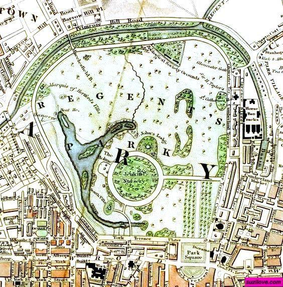 1833 Regent s Park London UK Schmollinger Map of Royal Parks of