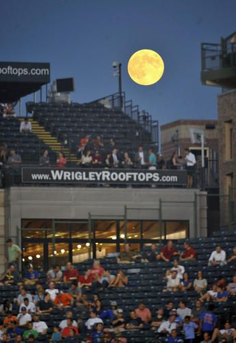 Aug 20, 2013; Chicago, IL, USA; A full moon rises over the rooftops
