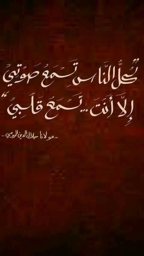 كل الناس تسمغ صوتى الل انت تسمع قلبى جلال الدين الرومي Sufi Quotes Words Quotes Arabic Quotes