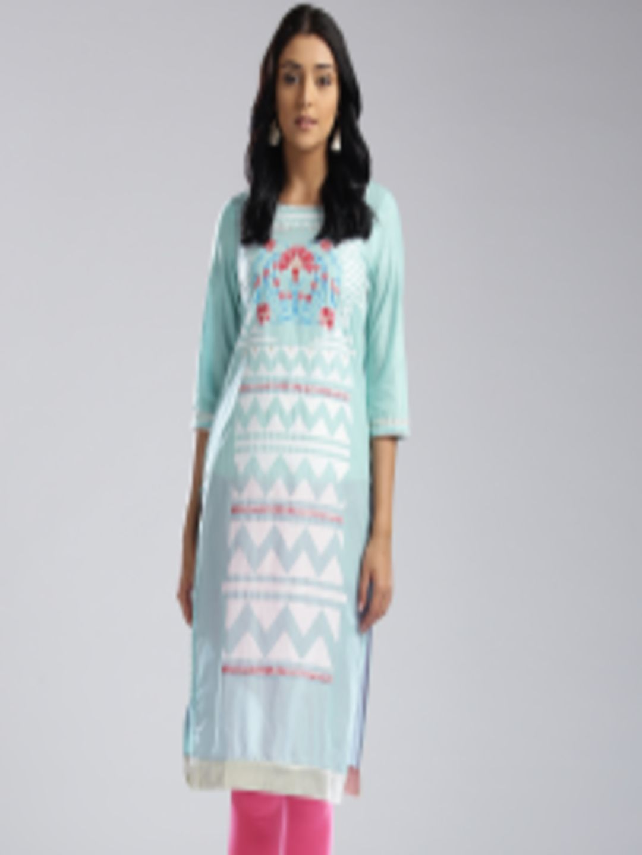 9659a5052 Buy W Women Blue % White Printed Straight Kurta - Kurtas for Women 2402858