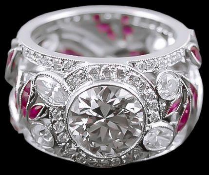 Platinum Diamond, Ruby Ring 2.57cts