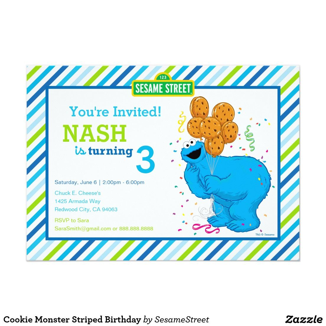 Cookie Monster Striped Birthday 5x7 Paper Invitation Card Boys