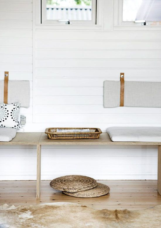understated scandi shelving bench and cabin