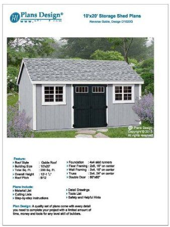 Building Blueprints Shed Plans 10 X 20 Reverse Gable Roof Style Design D1020g Material List Included Amazon Storage Shed Plans Shed Plans Backyard Sheds