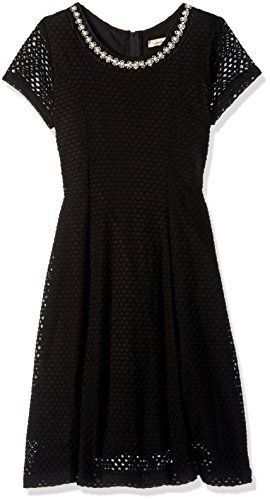 Girls Embellished Neck Dress