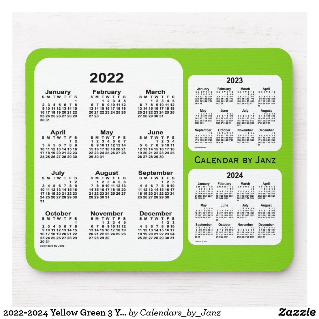 2022 2024 Yellow Green 3 Year Calendar By Janz Mouse Pad Zazzle