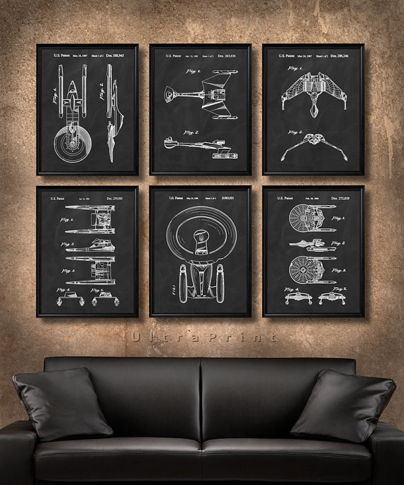 Set Of 6 Star Trek Spaceship Posters Vintage Patent Etsy Star Wars Poster Art Modern Art Prints Star Trek Decor