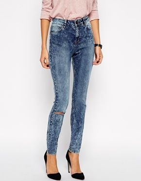ASOS Ridley Skinny Jeans in Tears Acid Wash with Ripped Knee