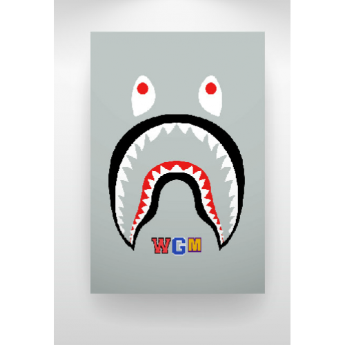 A Bathing Ape Bape Shark Wgm Face Backpack Art Print Gray Backpack Art Bape Shark Art