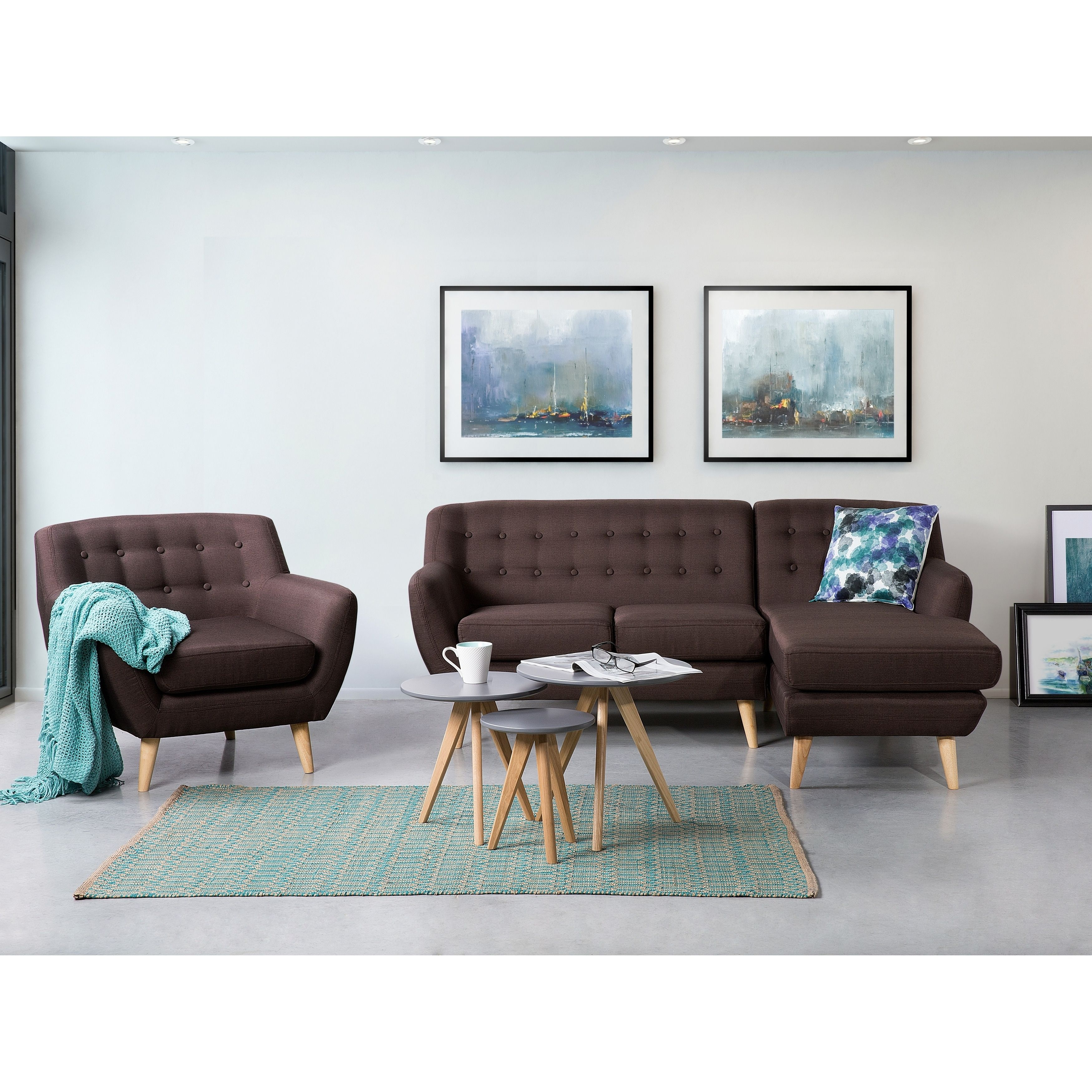 Beliani Tufted Sectional Sofa Brown Motala Polyester
