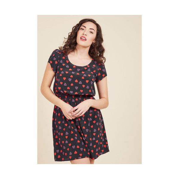 Vintage Inspired Mid-length Short Sleeves A-line Oh My Gosh A-Line... (85 CAD) ❤ liked on Polyvore featuring dresses, apparel, blue, fashion dress, slip dress, pink dress, pink a line dress, blue short sleeve dress and a line slip