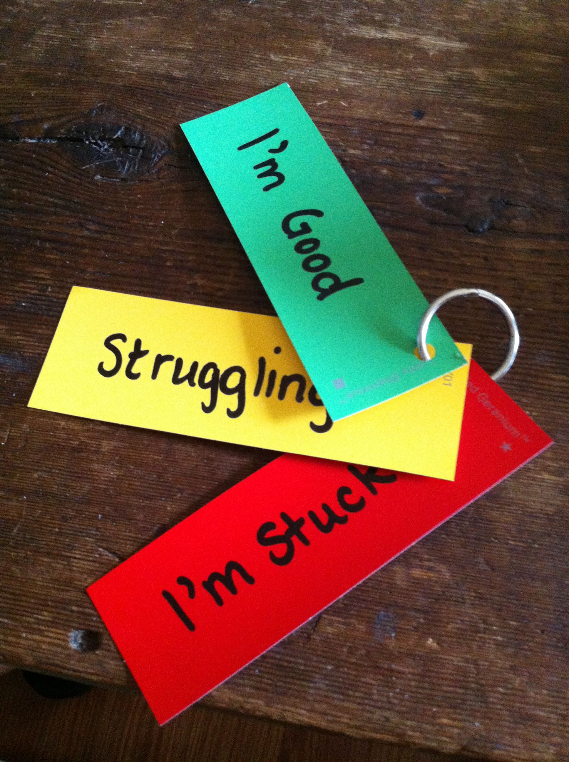 Student selfassessment rings I used binder rings and