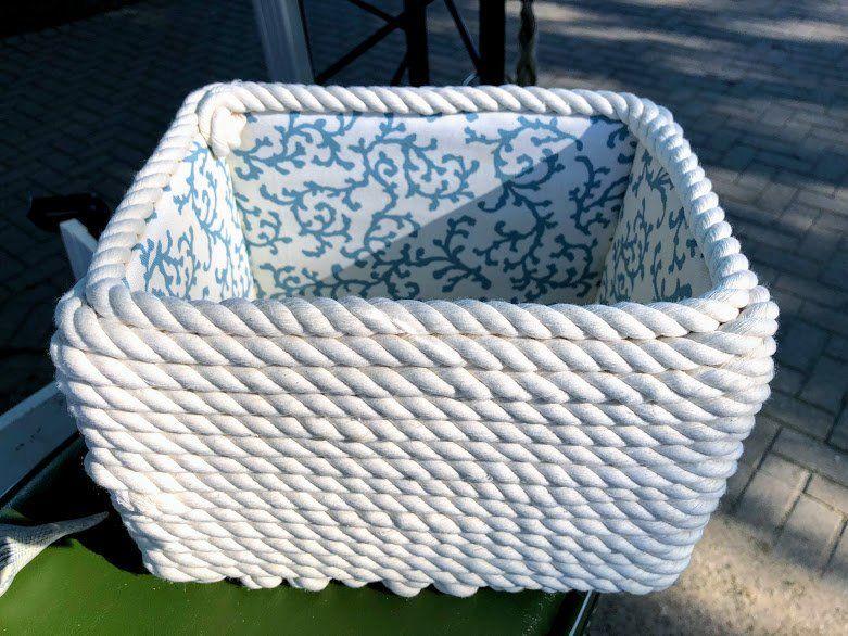 Cotton Rope Basket Nautical White And Blue Storage Basket Fabric