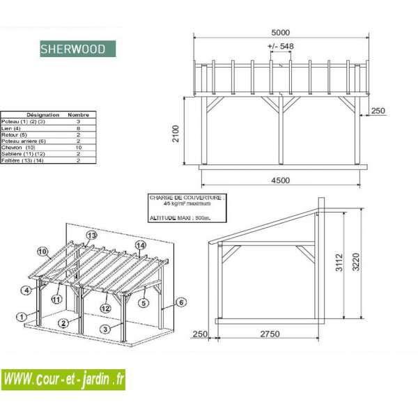 auvent terrasse sherwood carport bois