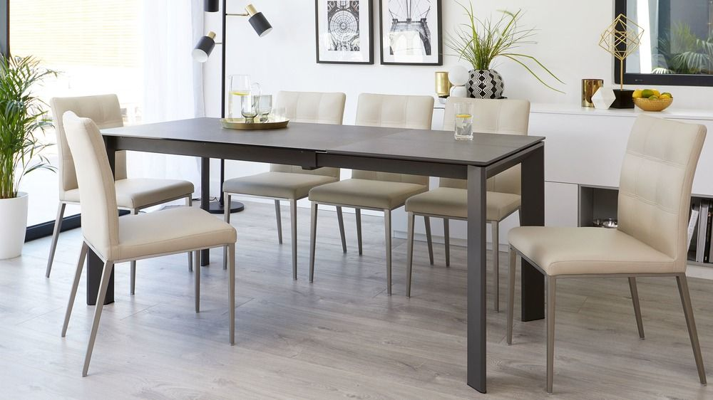 Louis Dark Grey Ceramic Extending Dining Table Ceramic Dining
