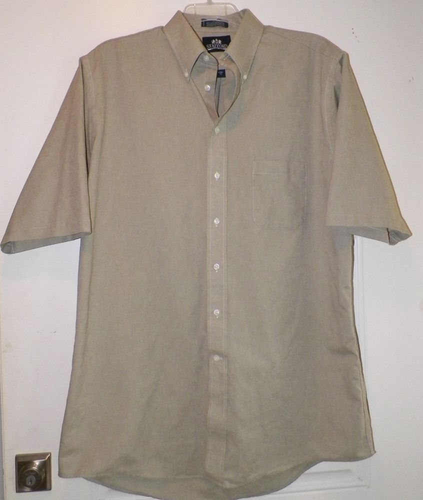Stafford Mens Short Sleeve 17 X Tall Sage Green Dress Shirt