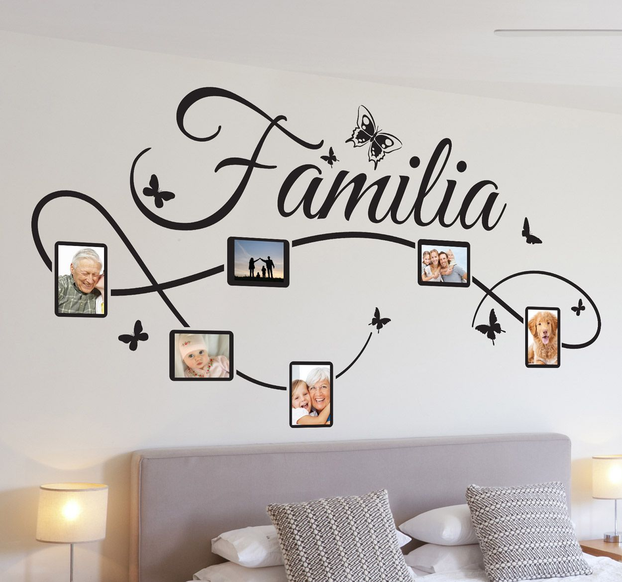 Vinilo decorativo fotos familia design pinterest for Decoracion para pared negra