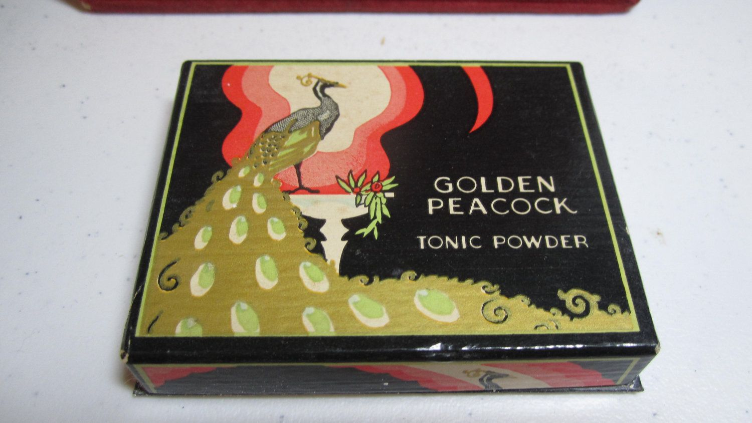 1920 S 30 S Art Deco Golden Peacock Tonic Powder Box Colorful