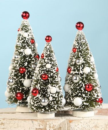 This Scandinavian Bottle Brush Tree Set Of Three Is Perfect Zulilyfinds Christmas Decorations Christmas Bottle Brush Trees