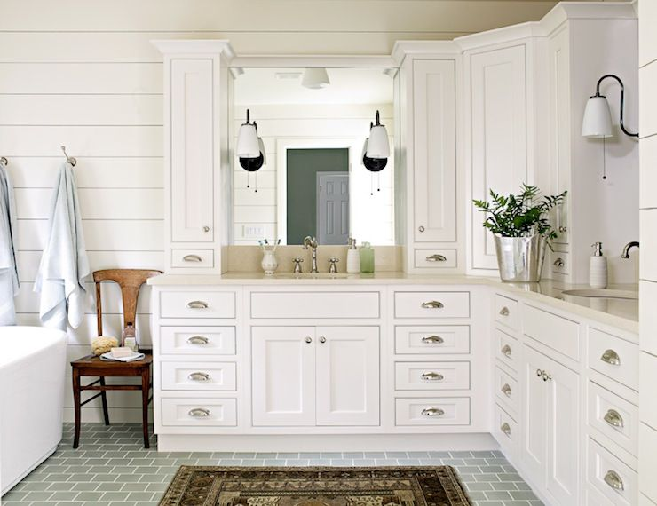 corner dual vanity shiplap paneled walls bluegray square tile floor corner - Corner Bathroom Cabinet