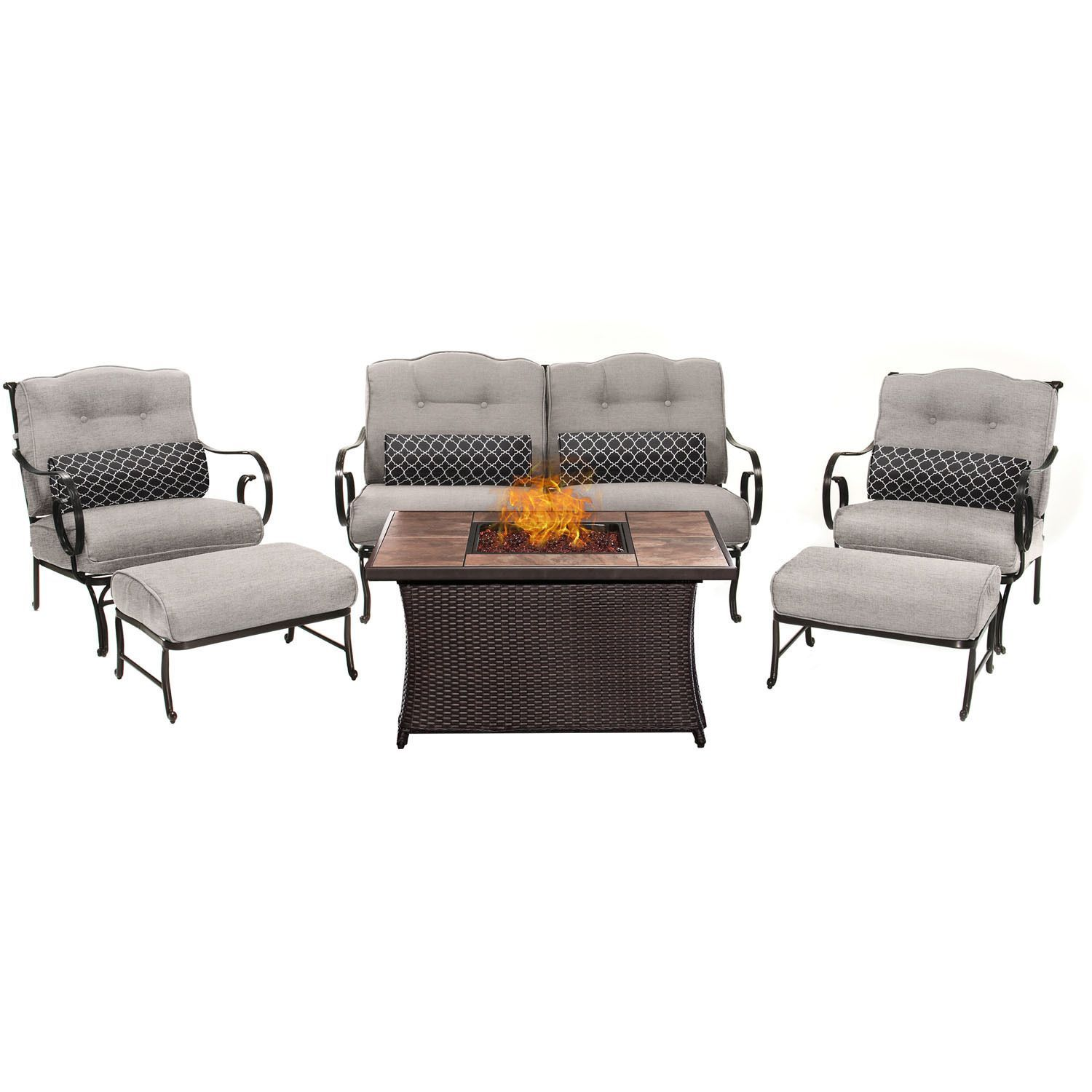 hanover outdoor oceana 6 piece lounge set in silver lining with lp