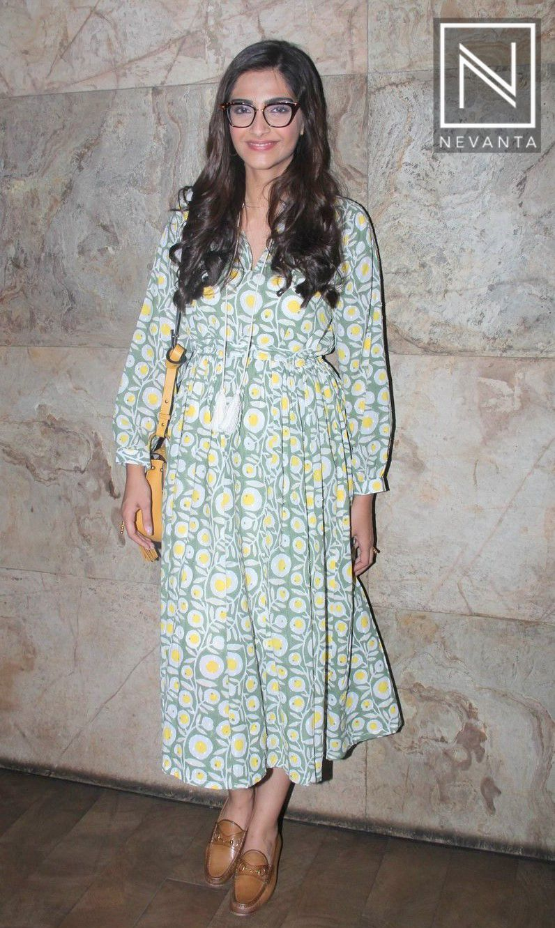 Sonamkapoor was seen in an abstract printed dress and gucci